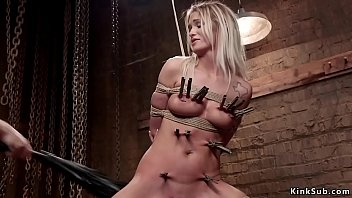 Clamped blonde slave made ride Sybian