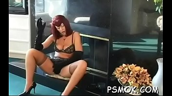 Mature bitch blows a guy while smokin' a cigarette preview image
