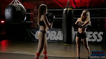 Boxing teen hottie works the heavy bag and strips naked