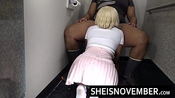 Msnovember Bury Her Ebony Face In Big Hung Cock Inside Arcade Rest Room On Her Spinner Knees Wearing Mini Skirt Exercise Her Mouth And Jaw Taking A Fat Hot Facial Cumshot On Her Red Lips And Tongue HD Sheisnovember