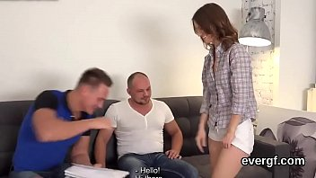 Penniless bf allows slutty friend to drill his exgf for money