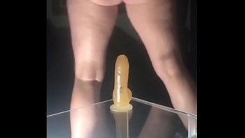 Amateur Wife Removes Dress And Rides Her Suction Cup Dildo