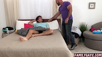 Big gay stepdad catches son masturbating