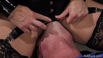 Blonde Milf dominatrix anal fucks her partner