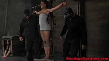 Ebony sub restrained and spanked