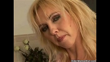 Curvy Old Woman with Big Tits Dildoing in Bathroom Porn