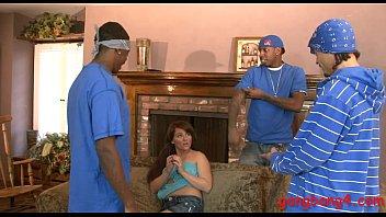 Pretty teen Casey Cumz interracial orgy