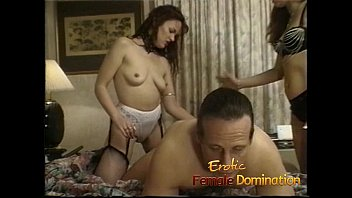 Erotic female relief observation - Raunchy bitch sucks on a strap-on while a dude watches