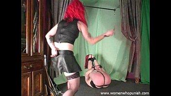 Mistress Melissa whipping and paddling pony slave
