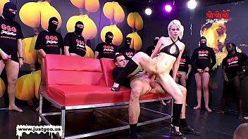 Bukkake aus - Skinny blondie drinks cum from a plastic tube - german goo girls