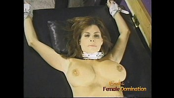 Female castration erotic Charming brunette bimbo with big naturals gets whipped by two hot dominas