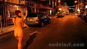 Nude in San Francisco: Short clip of girl walking streets naked late at night video