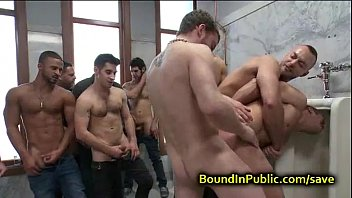 Gay fuck cum in butt - Bound gay face covered in cum in public