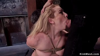 Blonde slave anal fucking threesome