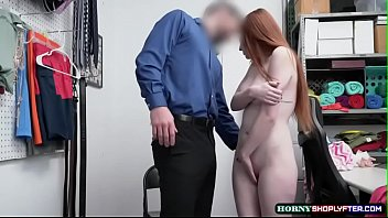 Shoplifter Aria Carson kneels and suck dudes bigcock