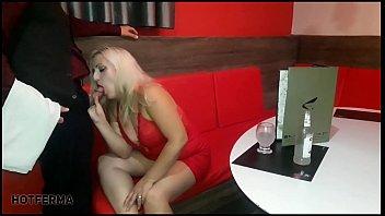 Blonde fucking in the restaurant