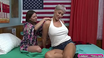 Busty milf licks her room mates pussy