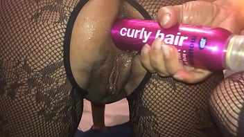 POV Homemade Filming of My Girlfriend, Closeup on My iPhone - Watch the Dirty British Whore, Ramming a Big Bottle of Hair Spray, Deep in Her Ass and Squirting