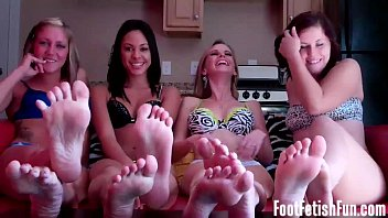 Four girls take you to foot fetish heaven