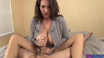 Hugetits milf POV stroking on the bed