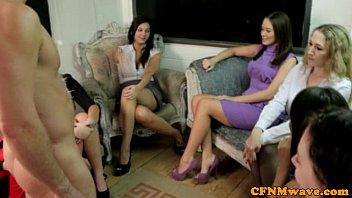 Voyeur CFNM babes enjoy the tug party