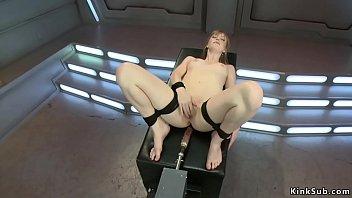 Tied legs pale babe machine banged