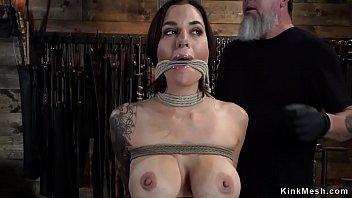 Tight Tied Bust y Slave Caned On Hogtie n Hogtie
