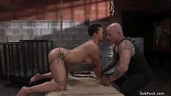 Busty Asian slave is whipped and banged