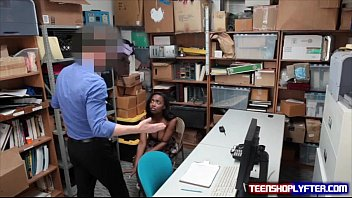 Black teen Daya Knight bent over desk and fucked doggy thumbnail
