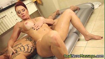 Redheaded masseuse fuck