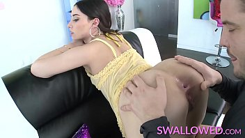 SWALLOWED Teen Aria Lee gets a mouthful of cock and cum