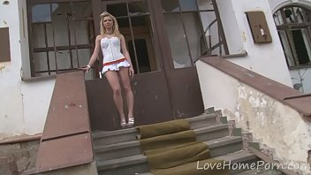 Desirable blonde loves her new white dress
