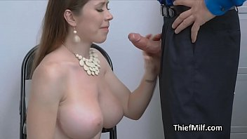 Stealing MILF puts her mouth to good use at the office