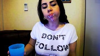 Big Boobs Babe Brushing his Teeth and Sucking Dildo - Amateur