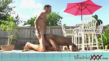 Fat gays pool porn Stud services fat dick by the pool and receives cumshot