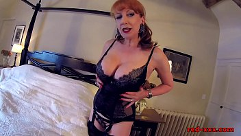British redhead Red fingers her juicy pussy in lingerie