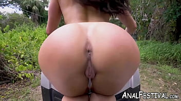 MILF Kendra Lust drives a motorbike while showing her ass