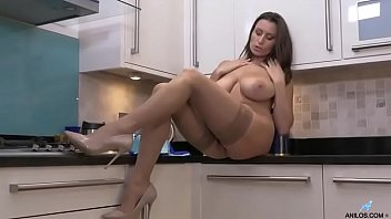 Sensual Jane masturbating in kitchen