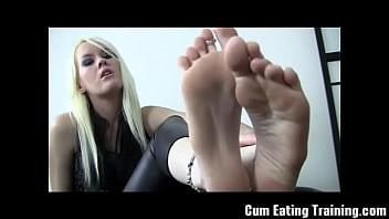 Eat cum off feet femdom Eat your own cum off my feet cei