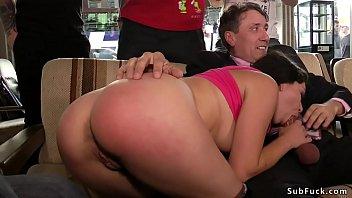 Petite brunette sucks big dick in bar pornhub video