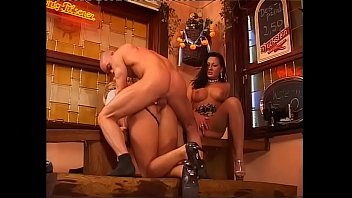 Hot threesome in a restaurant with two amazing chicks
