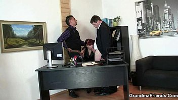 Two lucky studs bang business lady