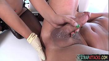 Nurse nasty strapon fucks her male sex slave Preview