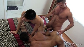 Gay golden man shower Kinky threeway latino asian with golden showers
