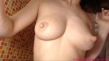 Hot mom with big milk tits showing her sweet body in shower