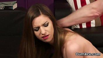 Frisky model gets cumshot on her face gulping all the juice