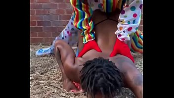 Gibby The Clown fucks ebony in a barn