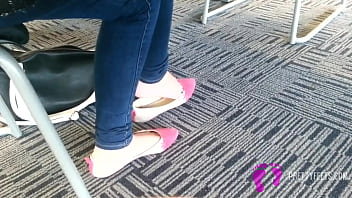 Candid Asian Teen Shoeplay Feet Dangling Pink Flats Part 1