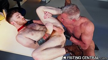 Rubber fisting gay Fistingcentral - mature boss catches employee jerking