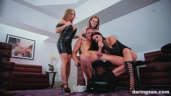 The best babes join forces and enjoy group blowjob